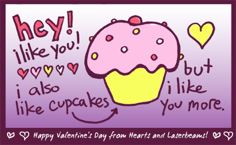 Valentines Day Cards from Hearts and Laserbeams Steph Calvert Art – Cupcake Valentine Card