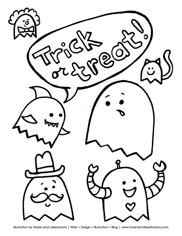 free halloween printable trick or treat ghosts by hearts and laserbeams