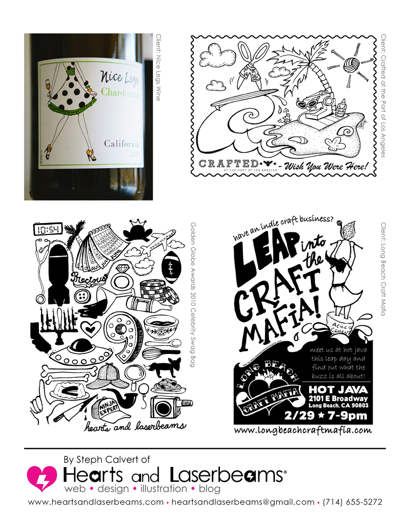 illustration tear sheets from hearts and laserbeams